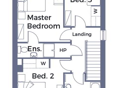 Floorplan 1 of Semi-Detached 5, Crevenagh Hall, Omagh