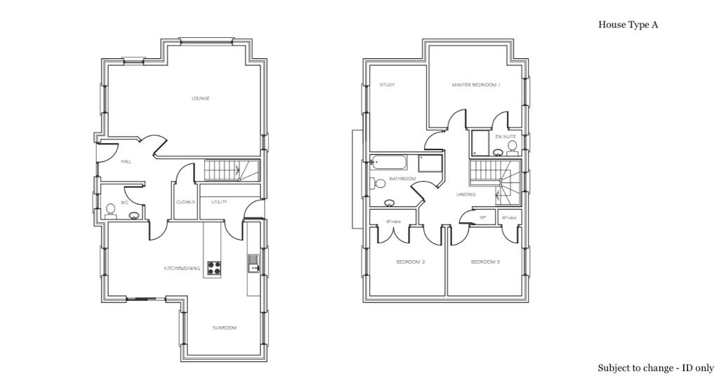 Floorplan 1 of House Type A, Coolreaghs Manor, Cookstown