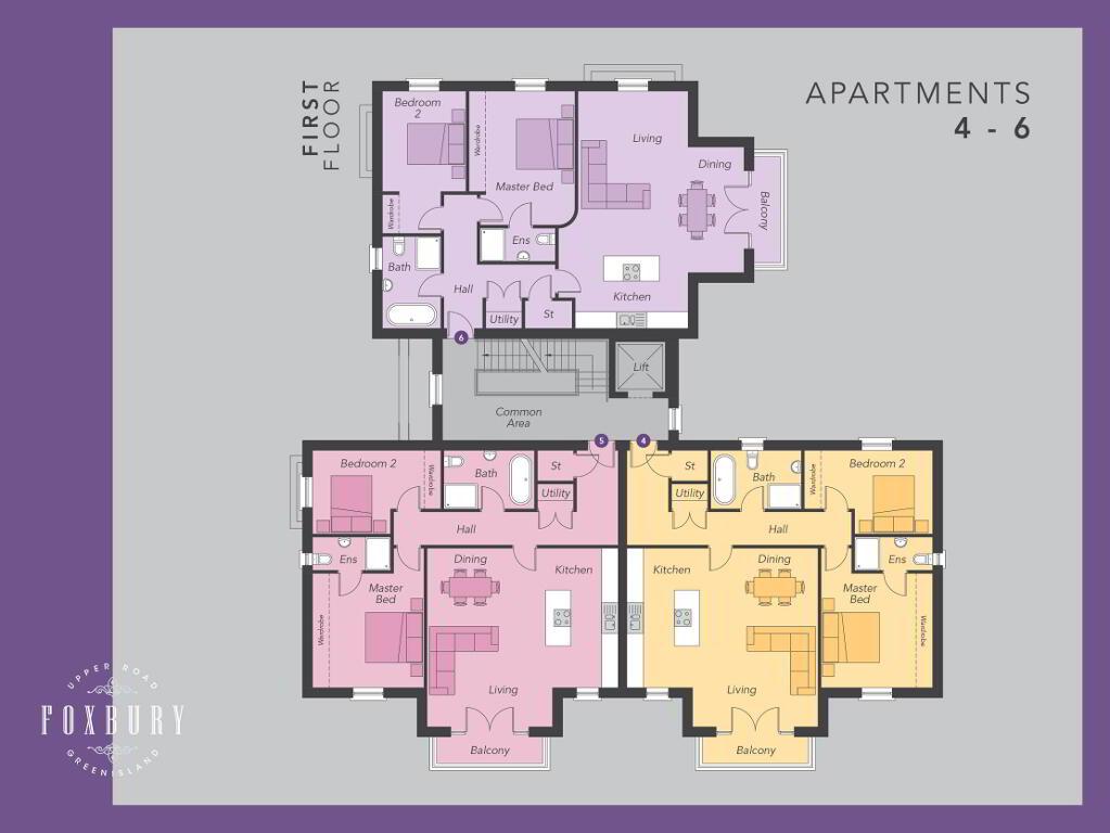 Floorplan 1 of First Floor Apartments 4, 5 & 6, Foxbury, Upper Road, Greenisland