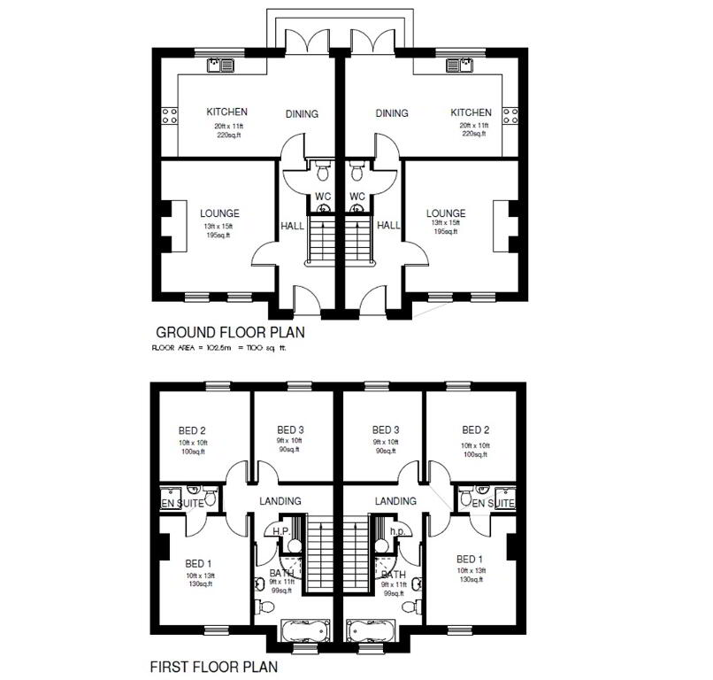 Floorplan 1 of Semi Detached Property, Knockcarra Dell Development, Old Mountfield Road, Omagh