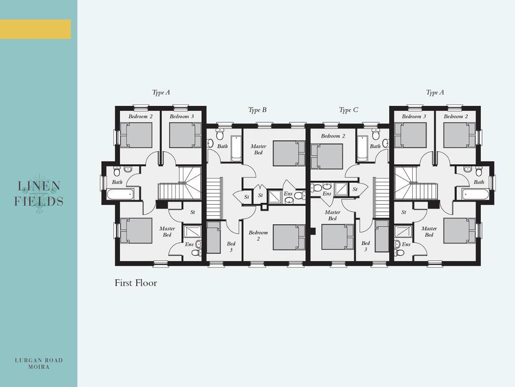 Floorplan 2 of Mid Townhouse 4 Block, Linen Fields, Lurgan Road, Moira