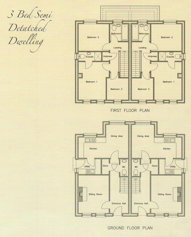 Floorplan 1 of Semi Detached - House Type J, Phase 3 Richmond Manor, Old O...Ballygawley, Omagh