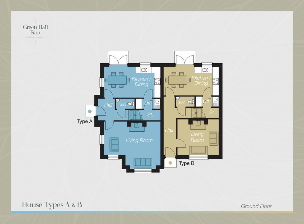 Floorplan 1 of House-Type A, Green Hall Park, Main Street, Glenavy