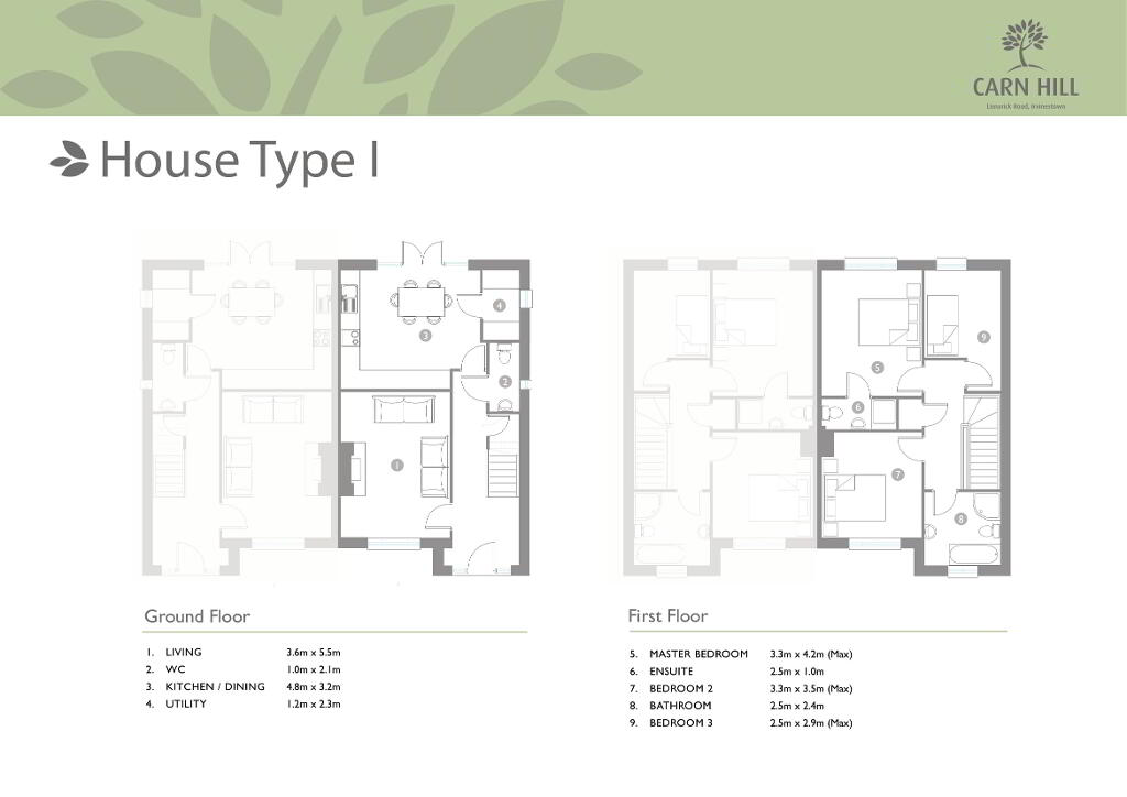 Floorplan 1 of House Type I - 3 Bed Semi Detached, Carn Hill, Lisnarick Road, Irvinestown