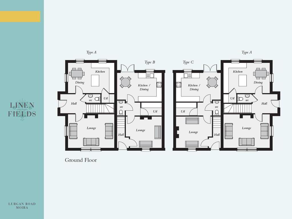 Floorplan 1 of Mid Townhouse 4 Block, Linen Fields, Lurgan Road, Moira