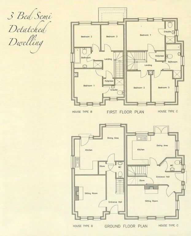 Floorplan 1 of Semi Detached Property - House Type B & C, Phase 3 Richmond...Ballygawley, Omagh