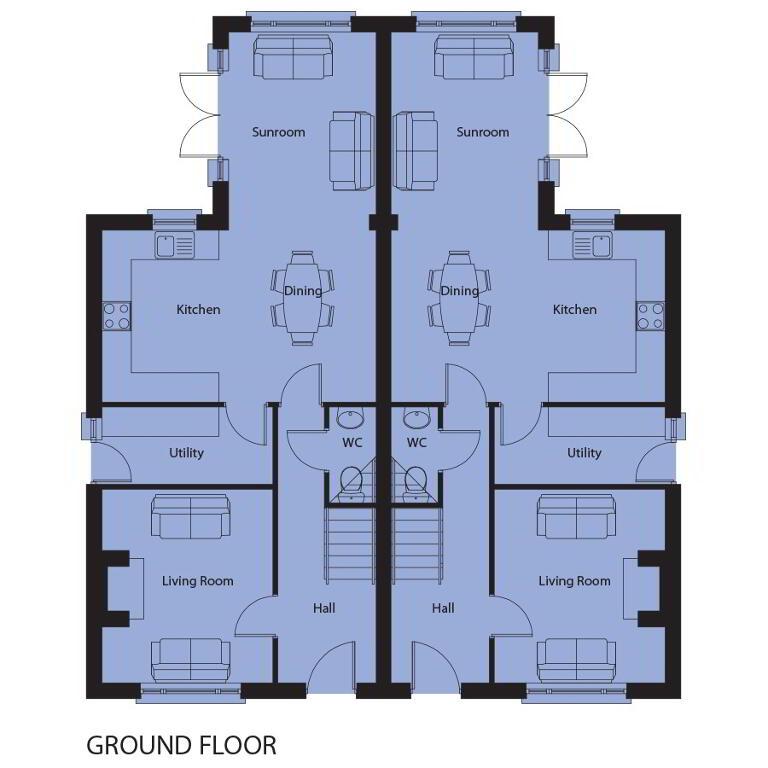 Floorplan 1 of House Type 3, Drum Meadow, Long Lane, Portadown