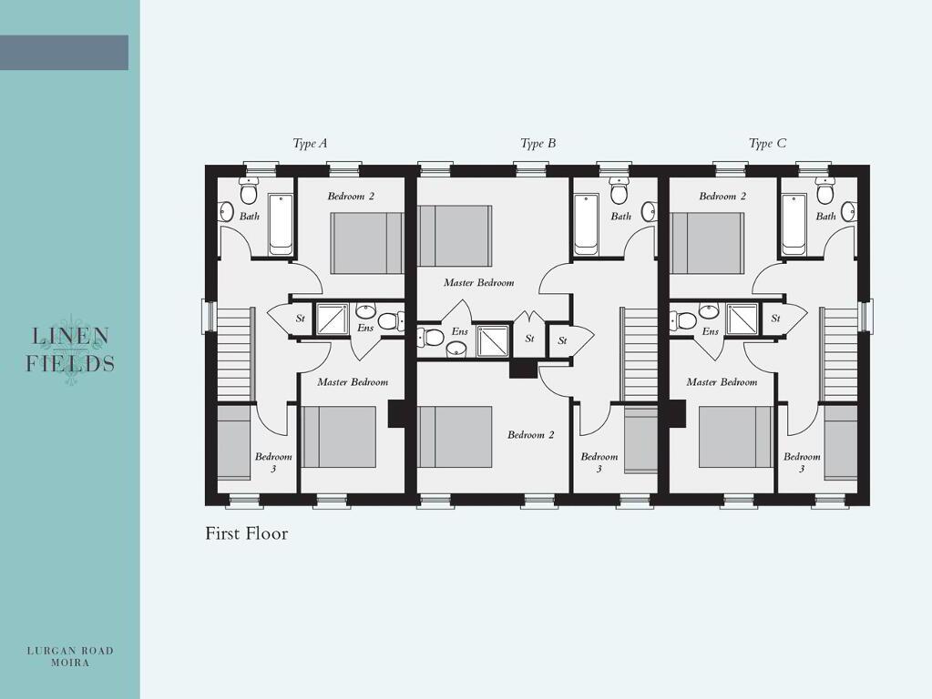 Floorplan 2 of End Townhouse Of 3 Block, Linen Fields, Lurgan Road, Moira