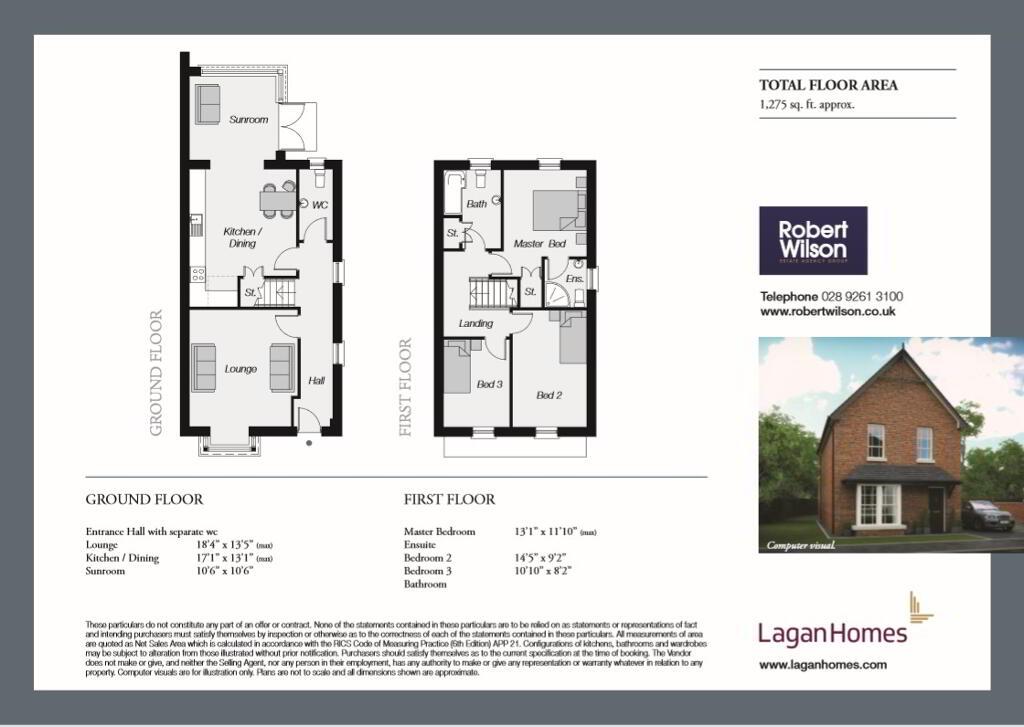Floorplan 1 of The White Rose Cottages Type Mv20.1, Saint Inns Of Moira, Moira